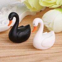 Simulazione animale giocattolo nero nero bianco realistico cigno ornamento micro paesaggio decorazione Y0914