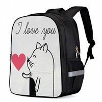 هريرة عيد الحب أنا أحبك محمول حقيبة مدرسية حقيبة الطفل كتاب حقيبة أكياس الرياضة زجاجة جيوب جانبية X01L #