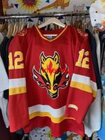 bon marché CCM Calgary Calgary Flames Hockey Jersey Vintage Iginla Head Head Tête rare Nom Nom Men Kid Hockey Jerseys XS-5XL