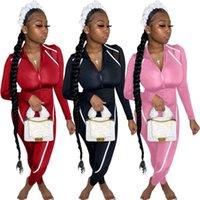 Сексуальная панель Ziiper Женская ползунка моды контрастный цвет тощий комбинезон экипаж шеи новый дизайнер женская одежда