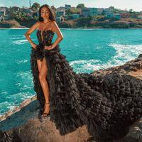 Bohemian hippy nero abiti da sposa 2021 spiaggia A-line abito da sposa abiti da sposa abiti da sposa senza spalline pizzo top tulle boho hi-lo tiers sexy