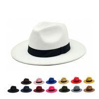 Witner herbst für frau vintage fedora männer wolle weiten rand top hut chapeau weiß schwarz kirche hut bowler damen frauen jazz hüte
