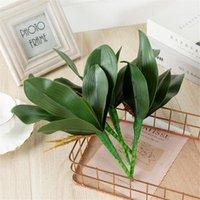 Искусственное растение PU бабочка орхидеи поддельных листьев растение пластиковые цветы для свадьбы дома сад таудор зеленый лист симуляции
