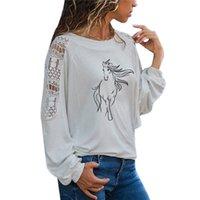 Creative Horse T Camiseta Mulheres Manga Longa O-pescoço T-shirt Mulher Roupa Animais Tops Menina Casual Lace Lace Tees 210224
