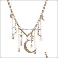 Collane Pendenti Gioielli Misscycy Boho Color Gold Color Rhinestone Moon and Star Pendant Collana per le donne Fashion Charm Choker Party Jewelry