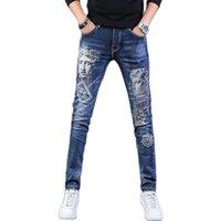 Men's Jeans For Men 2021 Classic Printed Statue Denim Slim Man Pencil Pants Casual Streetwear Stretch Blue Long Trousers