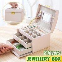 2021 NUEVO Caja de joyería de almacenamiento de tres niveles de lujo con espejo Caja de almacenamiento de hilo de seda portátil Pendientes Pendientes Joyería