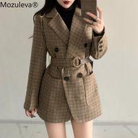 Fatos femininos blazers mozuleva xadrez mulheres trabalham blazer jaqueta casual casual duplo-breasted Sashes terno feminino 2021 Slim Outwear