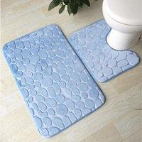 목욕 매트 2 조각 세트 조약돌 패턴 화장실 커버 발 패드 미끄럼 방지 욕실 욕실 Doormat Flannel 부드러운 목욕 러그 카펫 HWF5295