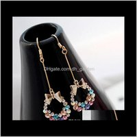 & Jewelrykorean Style Gold Plated Colorf Crystal Rhinestone Bow Bowknot Dangle Earring Chandelier Earrings Ear Stud Ring Earing Fashion Drop