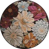 Flores 3D estampadas alfombras redondas alfombras suaves para sala de estar alfombra antideslizante silla de silla de alfombra para la decoración del hogar 2200 v2
