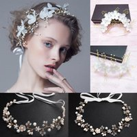 Headpieces Fashion Pearl Flower Headband Bridal Wedding Crown Hair Band Accessories Tiara Crystal Rhinestone Headpiece Women Jewelry Gift