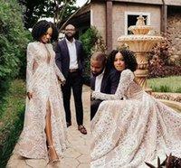 2022 Designer Wedding Dresses Bridal Gown Plus Size Tulle Satin Lace Long Sleeves Jewel Neckline Custom Made Beach Sexy Backless Side Slit vestido de novia