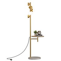 2021 Luxury Modern LED Floor Lamp With Solid Wood Table Gold Black Fashion Wireless Charging Metal Standing Light For Home Hotel Decoration