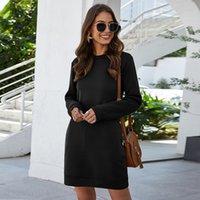 Leosoxs Sonbahar Kış O Boyun Uzun Kollu kadın Kazak Elbise 2020 Yeni Moda Katı Gevşek Cep Bayanlar Mini Elbise Vestidos