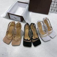 Tasarımcı Kadın Ayakkabı Lüks Yüksek Topuklu Kare Ayak Elbise Ayakkabı Örgü ve Berry Buzağı Kadın Seksi Zincir Sandal Schuhe Streç Pompalar