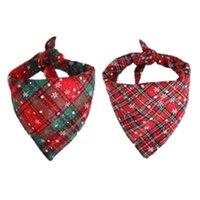 Christmas Dog Apparel Scarf Bandana Snowflake Plaid Triangle Bows Accessori per animali domestici per gatto DHL A03