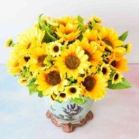 Luxury Decorative Flowers Greaths Decorazione della casa Simulazione Falso 4 Head Sun Chrysanthemum Girasole