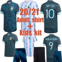 Adult Shirt Argentina Futebol Jerseys 20 21 COPA Home Away Kit Kits Kit Football Messi Dybala Aguero Lo Celso Martinez TagliaFico Uniformes