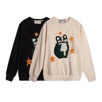 21ss AW Womens 캐주얼 스웨터 라운드 넥 긴 소매 옷 귀여운 고양이 패턴으로 장식 된 별 2 색