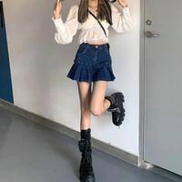 스커트 여름 높은 허리 가방 엉덩이 데님 스커트 스트리트 소녀 스타일 A-Line 모든 일치 얇은 주름진 여성 JK 트렌디 한 짧은