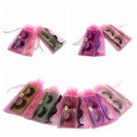 False Eyelashes 40 60pcs Wholesale Bulk With Tweezers And Yarn Bag Box Packaging Mix Styles 3d Natural Thick Fake Eye Lash Extensions