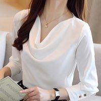 Damskie Bluzki Koszulki Bluzka Kobiety Blusas Mujer De Moda 2021 Z Długim Rękawem White V-Neck Szyfonowa Koszula Topy Blua D476