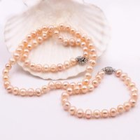 """Earrings & Necklace Natural Freshwater Pearl Beads Bracelet Jewelry Set For Women Strand Chain Bangle Weddings Party Gifts 18"""" 7.5""""A507"""