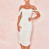 Beaokey 2021 Sonbahar Seksi Beyaz Uzun Bodycon Bandaj Elbiseler Kadın Kapalı Omuz Parti Kulübü Ünlü Yüksek Kalite Vestido XL