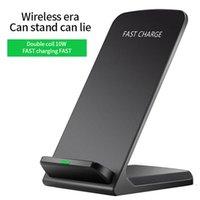 휴대용 5W / 10W 빠른 무선 충전기 휴대 전화 홀더 USB QI 수직 충전 패드 유도 듀얼 코일 충전기