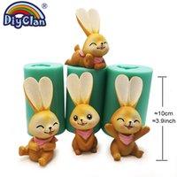 Simulazione 3D Stampo in silicone con coniglio per torta Topper Decoration Bunny Bunny Candle Fabbricazione Forma Forma Animale Forma Intonaco Stampo in resina 210225