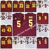 2021 NCAA Vintage USC Trojans College Jersey # 5 Reggie Bush 32 OJ Simpson 14 Sam Darnold 9 Kedon Slovis 43 Troy Polamalu 55 Junior Seau