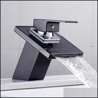 Faucets Faucets, Showers As Home & Gardethroom Waterfall Bathroom Black Glass Deck Mounted Solid Brass Wash Basin Sink Tap Mixer Faucet Drop