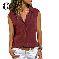 Women's Tanks & Camis Ladies Workwear Lapel T-shirt Solid Color Sleeveless Plus Size Top 8XL Loose Large T Shirt Summer Casual Pocket Design