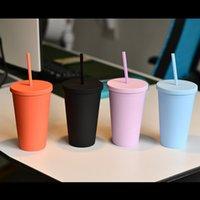 16oz 스트레이트 텀블러 더블 레이어 플라스틱 마시는 주스 컵 립 밀 짚 커피 머그잔 costom 플라스틱 컵 DHL 무료 배송 FY4421
