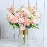 Güller Yapay Çiçekler Beyaz Ipek Şakayık Yüksek Kaliteli Gökyüzü Mavi Gelin Buket Düğün Dekor Sahte Çiçek Ev Aksesuarları Zanaat