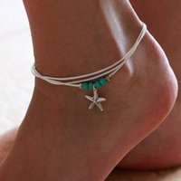Charm Bracelets 2021 Picture Color Multi-layer Starfish Mermaid Tail Beaded Fish Fins Bohemian Personality Female Anklet Bracelet