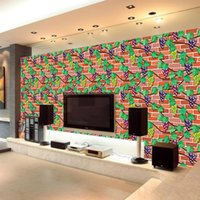 Wallpapers 45cm Wallpaper Brick Pattern With Glue Stickers Living Room Bedroom Porch Student Cabinet Parthenocissus