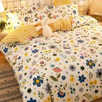 Four bed 100 cotton spring and summer bedding ins lovely fitted sheet quilt cover bedsheet dormitory three piece set 4
