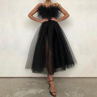 Casual Dresses Women Off Shoulder Strapless Feather Detail Sheer Mesh Long Dress 2021 Summer Sleeveless Female Wedding Wear Robes Black