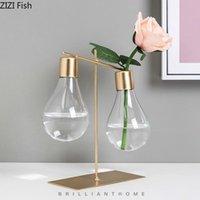 Yaratıcı Cam Vazo Ampul Dekoratif Süsler Şeffaf Çiçek Düzenlemesi Modern Ev Süslemeleri Altın Ayarma Vazolar