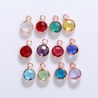 Fashion 6MM Birthstone Crystal Glass Pendant Charms for Bracelet Bangle Necklace Rose Gold Cute 12 Colorful Mix Style Diy Jewelry Charm