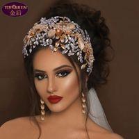 Düğün Tiara Çiçek Geniş Saç Bandı Barok Taç Gelin Gümüş Bayanlar Takı Elmas Taçlar Gelin Düğün Aksesuarları Taç Avrupa Tarzı Retro Saray Taç