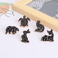 Animal Constellation Brooches Bunny Rabbit Deer Sea Turtle Black Gold Animals Badges Enamel Pin for Women Men Unisex
