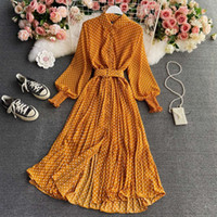 Vestido Polka Dot Chiffon Camisa de cuello Primavera y otoño elegante suave temperamento cintura tucio Falda plisada larga