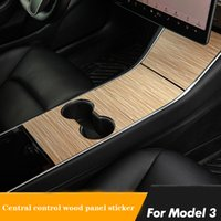 Tesla 모델 3 Telsa 모델 Y 자동차 센터 콘솔 포장 스티커 나무 콘솔 그레인 액세서리