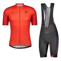 Scott Takımı Erkek Bisiklet Kısa Kollu Jersey Önlüğü Şort Setleri MTB Bisiklet Giyim Nefes Yarış Bcycle Kıyafetler Açık Spor S21070602