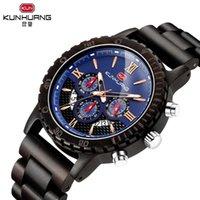 Armbanduhren kunhuang holzquarz armbanduhr männer sportuhr business holz männliche uhren mann armband armreif büge des geschenks chronograph
