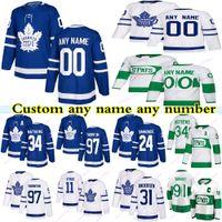 Personalizado Toronto Maple Leafs Jerseys 91 Tavares 34 Matthews 16 Marne 97 Thornton 24 Simmonds Qualquer nome Qualquer Nome Hóquei Jersey