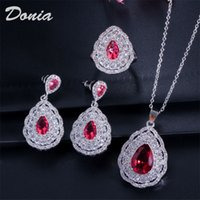 Donia jewelry Fashion water drop shape zircon earrings necklace ring three-piece wedding jewelry ladies banquet set decorations